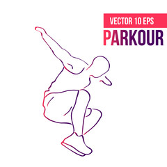 Silhouette of a guy engaged in parkour.  Jumping sport.