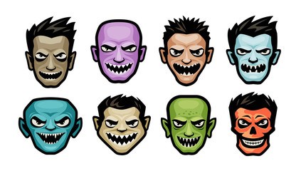Monsters set. Halloween concept. Cartoon vector illustration