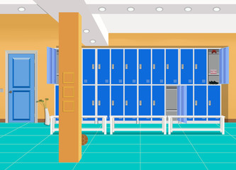Locker or changing room for football, basketball team. Dressing of sports uniform, training equipment, athletic costume. Shelves in school gym, cartoon background