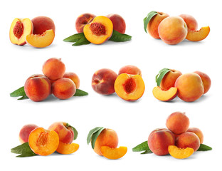 Set with juicy ripe peaches and green leaves on white background