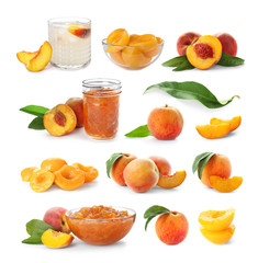 Set with delicious peaches on white background. Different recipes