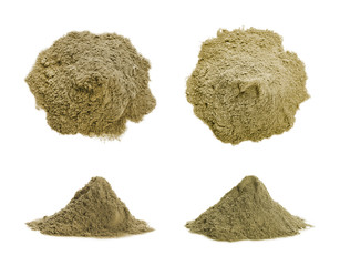 Set with hemp protein powder on white background