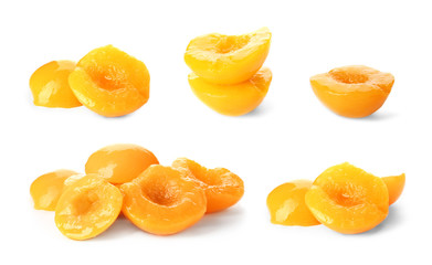Set with conserved peaches on white background
