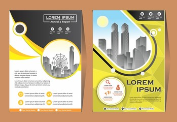cover set, layout, brochure, flyer design for company, event, and report with 3 color