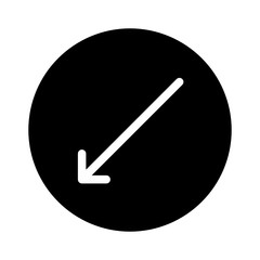 Down Left Thin Arrow Direction Move Diagonal vector icon