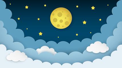 Full moon, stars, clouds on the dark midnight sky background. Night sky scenery background. Paper art style. Minimal design. Vector Illustration.