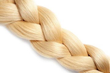 Healthy braided blond hair isolated on white