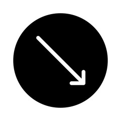 Down Right Thin Arrow Direction Move Diagonal0 vector icon