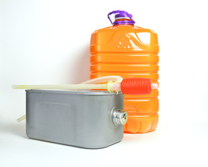 a tank with a can of kerozene for a kerosene heater