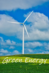 Green Energy Illustration - Wind Turbine in Early Spring