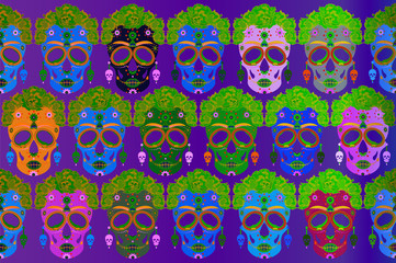Mexican skull, Calavera with flowers. Decoration for Day of the Dead, Dia de los Muertos. Halloween poster background, greeting card or t-shirt design. Frida style. Set vector skulls colors background