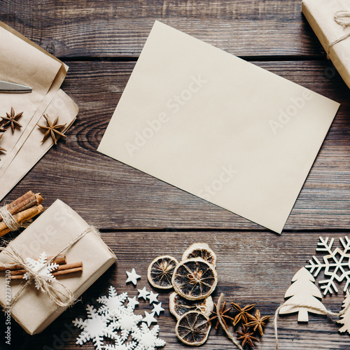 christmas or new year greeting card wish list or poster template holidays background with