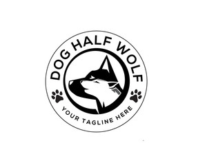 Dog Half Wolf Food Vintage Logo Design Inspiration