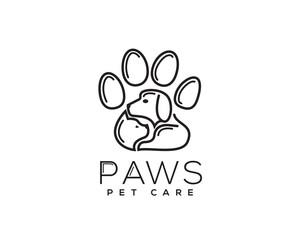 cat and dog in paws logo design inspiration