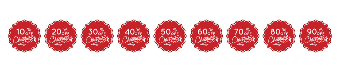 Christmas discount banner.Set of 9 promotional tags label for the holiday season.