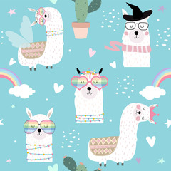 Blue hand drawn cute seamless pattern with llama, glasses,cactus,rainbow and heart