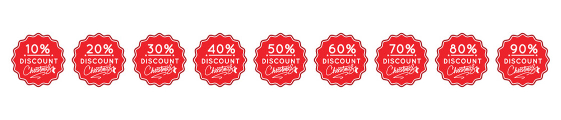 Set of percent red stickers for winter and christmas sales.