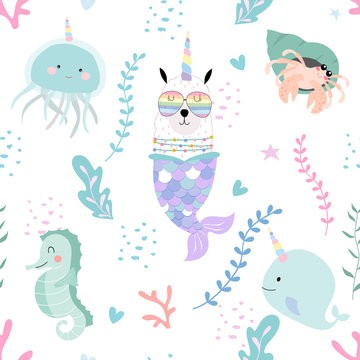 Blue hand drawn cute seamless pattern with llama, glasses,sea horse,mermaid and coral