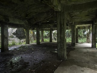 Remains of a World War II Japanese military command centre on Eten Island in Chuuk State (formerly Truk Lagoon), Micronesia
