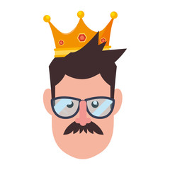face man in glasses with crown