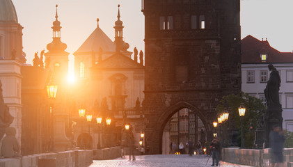 Fotomurales - Romantic Prague: Charles Bridge, churches and spires of Old Prague on a sunrise