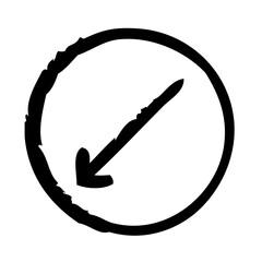 Down Left Thin Arrow Direction Move Diagonal.9 vector icon