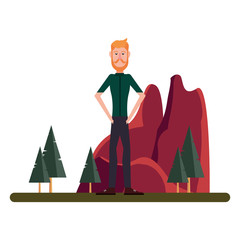 man standing in the landscape