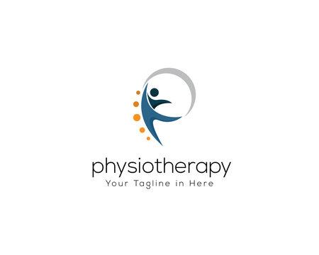 human health care logo, physiotherapy logo, human jump logo, p Letter logo