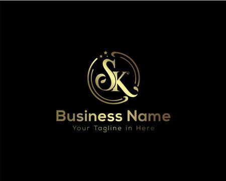 SK logotype, gold beauty logo, Circle SK beauty logo,