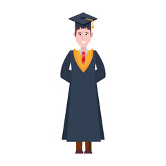 graduate man college with robe and hat