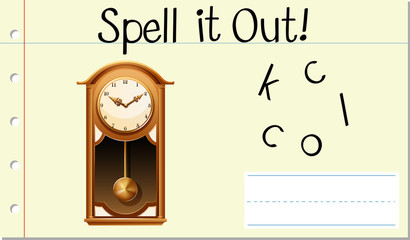 Spell English word clock