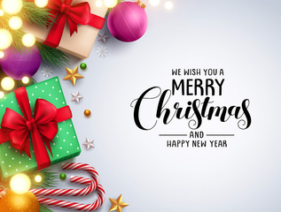 Christmas background vector design with merry christmas text in empty white space and colorful elements like gifts and lights. Vector illustration.