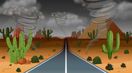 Tornado desert rain scene