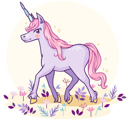 Cartoon fabulous magical unicorn of pastel colors in the meadow