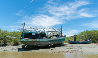 Old Fishing Boat on Khao Dang Canal at Prachuap Khiri Khan Thailand