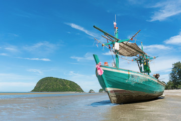 Green Fishing Boat at Sam Roi Yod Beach Prachuap Khiri Khan Thailand Right