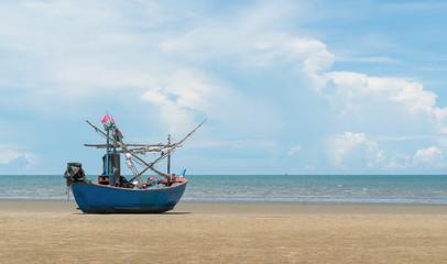 Blue Fishing Boat on Sam Roi Yod Beach Prachuap Khiri Khan Thailand 2