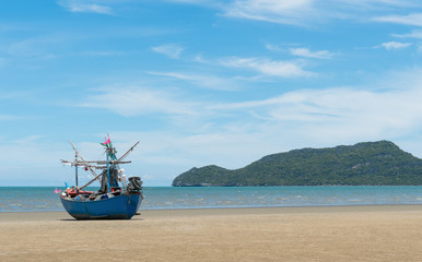 Blue Fishing Boat on Sam Roi Yod Beach Prachuap Khiri Khan Thailand 3