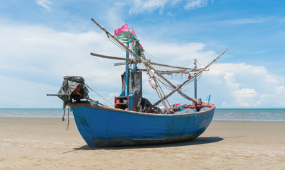 Blue Fishing Boat on Sam Roi Yod Beach Prachuap Khiri Khan Thailand Center 2