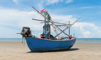 Blue Fishing Boat on Sam Roi Yod Beach Prachuap Khiri Khan Thailand Center 2