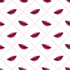 Seamless pattern purple lips on striped background