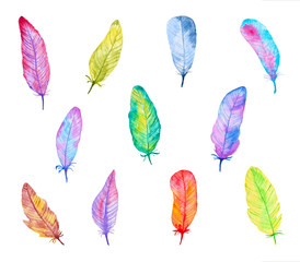 Set of Colorful Watercolor Feathers. Hand Drawn and Painted. Isolated on White Background. Part 1