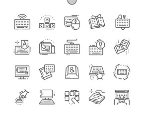 Keyboard Well-crafted Pixel Perfect Vector Thin Line Icons 30 2x Grid for Web Graphics and Apps. Simple Minimal Pictogram