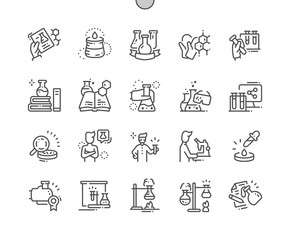 Chemical Well-crafted Pixel Perfect Vector Thin Line Icons 30 2x Grid for Web Graphics and Apps. Simple Minimal Pictogram