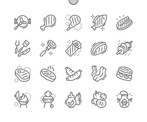 BBQ 2 Well-crafted Pixel Perfect Vector Thin Line Icons 30 2x Grid for Web Graphics and Apps. Simple Minimal Pictogram