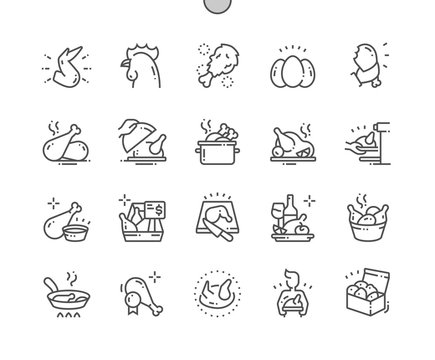 Chicken Well-crafted Pixel Perfect Vector Thin Line Icons 30 2x Grid for Web Graphics and Apps. Simple Minimal Pictogram