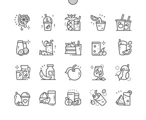 Fresh and Juice Well-crafted Pixel Perfect Vector Thin Line Icons 30 2x Grid for Web Graphics and Apps. Simple Minimal Pictogram