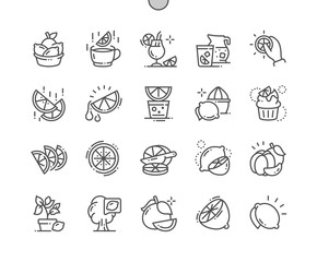 Citrus Fruits Well-crafted Pixel Perfect Vector Thin Line Icons 30 2x Grid for Web Graphics and Apps. Simple Minimal Pictogram