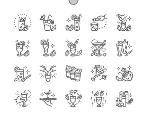 Shakes and drinks Well-crafted Pixel Perfect Vector Thin Line Icons 30 2x Grid for Web Graphics and Apps. Simple Minimal Pictogram