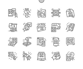 QR Code Well-crafted Pixel Perfect Vector Thin Line Icons 30 2x Grid for Web Graphics and Apps. Simple Minimal Pictogram